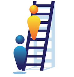 User being observed climbing ladder